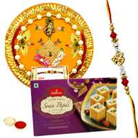 Rakhi Thali with One or More Designer Ethnic Rakhi and Haldirams Soan Papri<br /><font color=#0000FF>Free Delivery in USA</font> to Rakhi_to_usa.asp