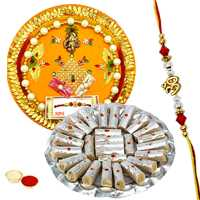 Rakhi Thali with One or More Designer Ethnic Rakhi and Kaju Pista Roll<br /><font color=#0000FF>Free Delivery in USA</font> to Rakhi_to_usa.asp