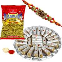 One or More Designer Ethnic Rakhi with 500 Gms. Kaju Pista Roll n 200 Gms. Haldirams Bhujia<br /><font color=#0000FF>Free Delivery in USA</font> to Rakhi_to_usa.asp