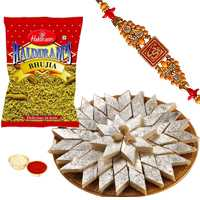 One or More Designer Ethnic Rakhi with 500 Gms. Kaju Katli n 200 Gms. Haldirams Bhujia<br /><font color=#0000FF>Free Delivery in USA</font> to Rakhi_to_usa.asp