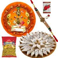 Rakhi Thali with One or More Designer Ethnic Rakhi and Kaju Katli n 200 Gms. Haldirams Bhujia<br /><font color=#0000FF>Free Delivery in USA</font> to Stateusa.asp