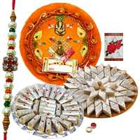 Rakhi Thali with One or More Rakhis, 250 Gms. Kaju roll n 250 Gms. Kaju Katli<br /><font color=#0000FF>Free Delivery in USA</font> to Rakhi_thali_usa.asp