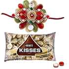 2 Designer Ethnic Rakhi with Hersheys Kisses ( 75 Gms.)<br /><font color=#0000FF>Free Delivery in USA</font> to Serch_price_usa.asp