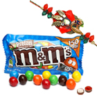 One or More Zerdosi Rakhi with famous M & M Chocolates ( 57 Gms.) Bag<br /><font color=#0000FF>Free Delivery in USA</font> to Rakhi_to_usa.asp