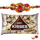 One or More Jewelled Rakhi with Hersheys Kisses ( 75 Gms.)<br /><font color=#0000FF>Free Delivery in USA</font> to Rakhi_to_usa.asp