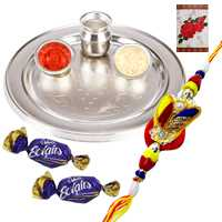 Silver Plated Rakhi Thali with One or More Zardosi Rakhi Options with Chocolates<br /><font color=#0000FF>Free Delivery in USA</font> to Rakhi_to_usa.asp