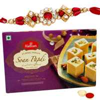 One or More Jewelled Rakhi with 250 Gms. Haldirams Soan Papri<br /><font color=#0000FF>Free Delivery in USA</font> to Rakhi_to_usa.asp