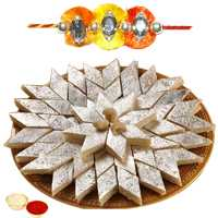 One or More Jewelled Rakhi with 250 Gms. Kaju Katli<br /><font color=#0000FF>Free Delivery in USA</font> to Rakhi_to_usa.asp