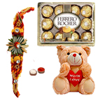 8 Inch Teddy Bear, 12Pcs. Ferrero Rocher n Rakhis<br /><font color=#0000FF>Free Delivery in USA</font> to Rakhi_kid_usa.asp