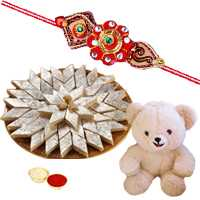 8 Inch Teddy Bear with 500 Gms. Kaju Katli n Rakhis<br /><font color=#0000FF>Free Delivery in USA</font> to Rakhi_to_usa.asp