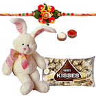 8 Inch Bunny with Hersheys Kisses Chocolates 75 Gms. n Rakhis<br /><font color=#0000FF>Free Delivery in USA</font> to Rakhi_kid_usa.asp