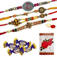 Four OM/Ganesh Rakhi with 4 Chocolates<br /><font color=#0000FF>Free Delivery in USA</font> to Rakhi_to_usa.asp