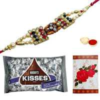 One or More Om/Ganesh Rakhi with Hersheys Kisses Chocolates Pack<br /><font color=#0000FF>Free Delivery in USA</font> to Rakhi_to_usa.asp