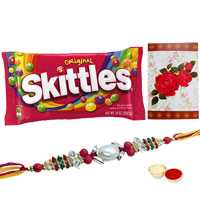 One or More Om/Ganesh Rakhi with Famous Skittles Chocolates Pack<br /><font color=#0000FF>Free Delivery in USA</font> to Rakhi_to_usa.asp