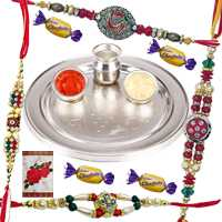 Silver Plated Rakhi Thali with Four Rakhi n 4 Chocolates<br /><font color=#0000FF>Free Delivery in USA</font> to Stateusa.asp
