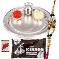 Silver Plated Rakhi Thali with One or More Rakhis n Hersheys Kisses Chocolates<br /><font color=#0000FF>Free Delivery in USA</font> to Rakhi_to_usa.asp