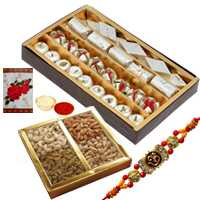 Rakhis with 500 Gms. Assorted Sweets with 500 Gms. Assorted Dry Fruits<br /><font color=#0000FF>Free Delivery in USA</font> to Rakhi_to_usa.asp