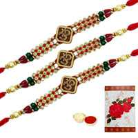 3 or More Designer Ethnic Rakhi  (Non Tracking) with Roli Tika<br /><font color=#0000FF>Free Delivery in USA</font> to Rakhi_to_usa.asp