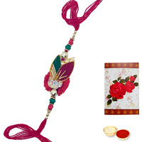1 Zardosi Rakhi with Roli Tika<br /><font color=#0000FF>Free Delivery in USA</font> to Serch_price_usa.asp
