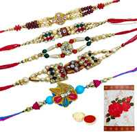 5 Assorted Ethnic Rakhi<br><font color=#0000FF>Free Delivery in USA</font> to Serch_price_usa.asp