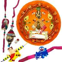 Thali with family set<br><font color=#0000FF>Free Delivery in USA</font> to Rakhi_thali_usa.asp