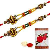2 Auspicious Ganesh Rakhi ( Non Tracking )<br><font color=#0000FF>Free Delivery in USA</font> to Rakhi_to_usa.asp