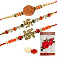 3 Propitious Swastik Rakhi ( Non Tracking )<br><font color=#0000FF>Free Delivery in USA</font> to Rakhi_to_usa.asp