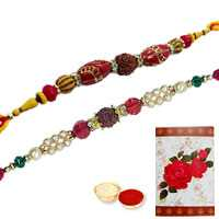 2 Divine Rudraksh Rakhi ( Non Tracking )<br><font color=#0000FF>Free Delivery in USA</font> to Rakhi_to_usa.asp