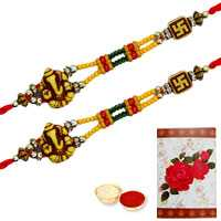 2 Auspicious Ganesh Rakhi<br><font color=#0000FF>Free Delivery in USA</font> to Serch_price_usa.asp