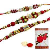 Propitious Collection of 3 Rakhi Set<br><font color=#0000FF>Free Delivery in USA</font> to Serch_price_usa.asp
