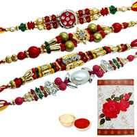 Divine Collection of 4 Rakhi<br><font color=#0000FF>Free Delivery in USA</font> to Serch_price_usa.asp