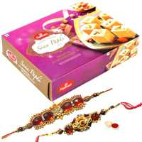 2 Ethnic Rakhi with 250 gm Haldiram Soan Papdi<br><font color=#0000FF>Free Delivery in USA</font> to Rakhi_to_usa.asp