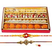 2 Ethnic Rakhi with 250 gm Haldiram Assorted Sweets<br><font color=#0000FF>Free Delivery in USA</font> to Rakhi_to_usa.asp