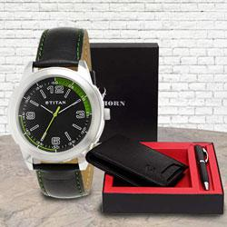 Marvelous Titan Watch with Wildhorn Wallet n Pen Set to Adoni