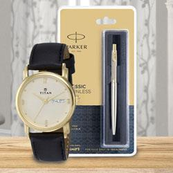 Marvelous Titan Watch and Parker Pen for Dad to Allahabad