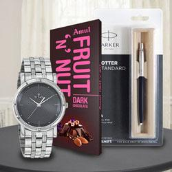 Exclusive Titan Watch with Parker Pen and Amul Chocolate to Adugodi