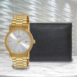 Marvelous Titan Watch with Richborn Wallet to Abohar
