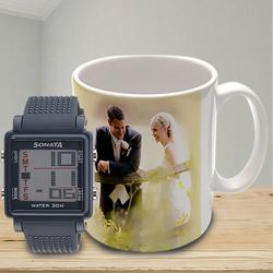Wonderful Sonata Super Fibre Watch N Personalized Mug to Adugodi