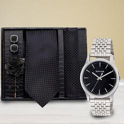 Marvelous Sonata Analog Watch N Neck Tie with Cufflinks to Abohar