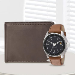 Admirable Fastrack Watch with a Brown Leather Wallet from Rich Born for Men to Akola