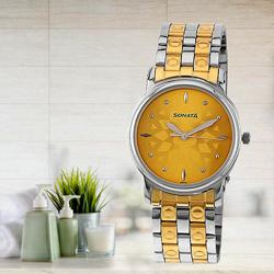 Marvelous Sonata Analog Champagne Dial Mens Watch to Alapuzha