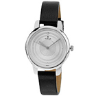 Fancy Round Dialed Stainless Steel Ladies Watch with Black Leather Straps to Gurgaon