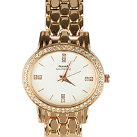 Stone Studded Ladies Wrist Watch in Golden Colour to Ambur