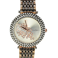 An Elegant Gold & Black Plating Womens Watch embellished with Stones to Aligarh