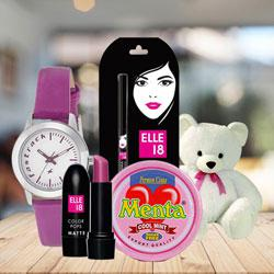 Marvelous Fastrack Watch with Cosmetics, Teddy N Chocolates to Amalampuram