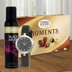 Delicious Ferrero Rocher Chocolates with Titan Watch N Jovan Musk Deo to Addanki