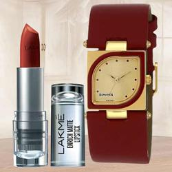 Amazing Sonata Analog Womens Watch N Lakme Lipstick to Alapuzha
