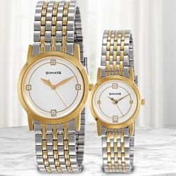 Exclusive Sonata Analog Pair Watch to Ahmedgarh