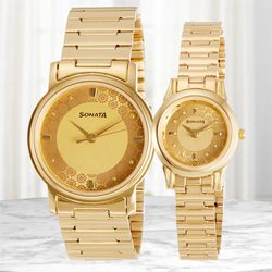 Wonderful Sonata Analog Couple Watch to Adra