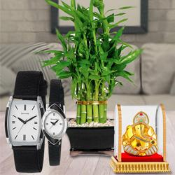 Auspicious Vignesh Ganesh, Lucky Bamboo Plant N Sonata Analog Watch to Abohar